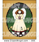 Illustration Vector of a Brunette Angel with a Candle in an Oval Frame on Orange by Inkgraphics