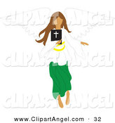 Illustration Vector of a Brunette Female Angel Flying with a Bible in Hand by Rosie Piter