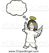 Illustration Vector of a Brunette White Angel Thinking by Lineartestpilot