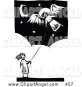 Illustration Vector of a Bw Girl Flying an Angel Kite by Xunantunich