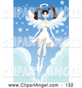 Illustration Vector of a Caucasian Brunette Female Angel in a White Dress, Hovering over Clouds with Stars by Mayawizard101