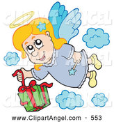 Illustration Vector of a Cheerful Angel Girl Dropping a Gift from Heaven by Visekart