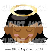 Illustration Vector of a Cheerful Black Angel Girl with a Halo and Pink Cheeks by Rosie Piter