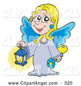 Illustration Vector of a Cheerful Blond Angel Girl with Blue Wings, Holding a Lantern by Visekart