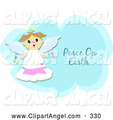 Illustration Vector of a Cheerful Happy Angel Girl on a Peace on Earth Cloud by