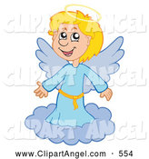 Illustration Vector of a Cheerful Happy Blond Angel Girl on a Cloud by Visekart