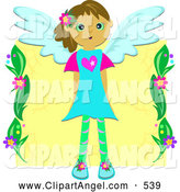 Illustration Vector of a Child's Drawing of a Winged Angel Girl in a Blue DressChild's Drawing of a Winged Angel Girl in a Blue Dress by