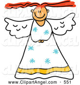 Illustration Vector of a Child's Sketch of a Peaceful Angel by Prawny