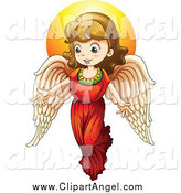 Illustration Vector of a Christmas Angel Girl with Light by Colematt