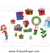 Illustration Vector of a Christmas Woman with a Bow Bell Angel Holly Wreath and Gifts by Frisko