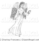 July 27th, 2012: Illustration Vector of a Coloring Page of an Angel Gesturing with One Hand by C Charley-Franzwa