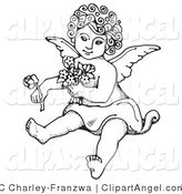 July 26th, 2012: Illustration Vector of a Coloring Page Sweet Curly Haired Cherub Sitting on the Ground, Holding Flowers in One Arm and a Rose out in One Hand by C Charley-Franzwa