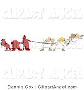 Illustration Vector of a Conscience Battle Three Bad Devils Playing Tug of War with Three Good Angels by Djart