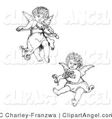 Illustration Vector of a Couple of Adorable Curly Haired Cherubs, One Playing a Violin and Flying, the Other Holding Flowers by C Charley-Franzwa
