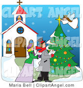 Illustration Vector of a Couple, Woman and a Man, Singing Christmas Carols in the Snow Outside of a Church While an Angel Tops a Tree with a Star by Maria Bell