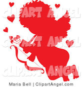 Illustration Vector of a Cupid Angel Silhouetted in Red, Surrounded by Hearts and Carrying a Bow and Arrows by Maria Bell