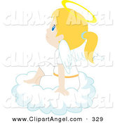 Illustration Vector of a Cute and Innocent Blond Caucasian Angel Girl Sitting on a Cloud by Rosie Piter