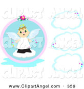 Illustration Vector of a Cute Angel Boy with Three Blank Clouds by