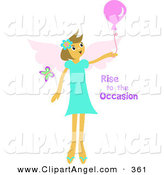 Illustration Vector of a Cute Angel Girl Holding a Balloon with Rise to the Occasion Text by Bpearth