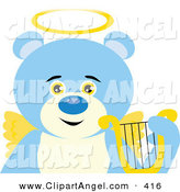 Illustration Vector of a Cute Angelic Teddy Bear with Golden Wings and a Halo by Dennis Holmes Designs