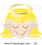Illustration Vector of a Cute Blond Angel Girl with a Halo and Pink Cheeks by Rosie Piter