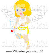 Illustration Vector of a Cute Blond Female Cupid with a Heart Arrow by Rosie Piter