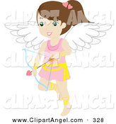 Illustration Vector of a Cute Brunette White Female Cupid with a Bow and Arrow by Rosie Piter