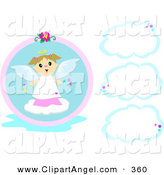 Illustration Vector of a Cute Caucasian Angel Girl with Three Blank Clouds by