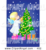 Illustration Vector of a Cute Caucasian Angle Putting a Star on a Christmas Tree by Pushkin
