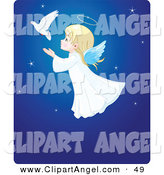 Illustration Vector of a Cute Christmas Angel Girl Flying Behind a Dove in a Blue Starry Sky by Pushkin