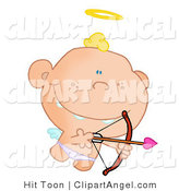 Illustration Vector of a Cute Cupid Flying with a Halo Above His Blond Hair, Aiming an Arrow by Hit Toon