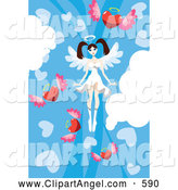 Illustration Vector of a Cute Female Angel in a Sky of Winged Hearts by Mayawizard101