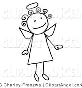 Illustration Vector of a Cute Flying Female Stick Angel with a Halo and Curly Hair on White by C Charley-Franzwa