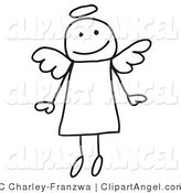 Illustration Vector of a Cute Flying Stick Angel with a Halo over Her Head by C Charley-Franzwa