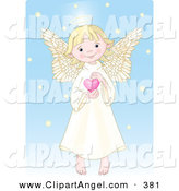 Illustration Vector of a Cute, Innocent, Blond Caucasian Female Angel with a Halo, Holding a Pink Heart by Pushkin