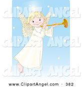 Illustration Vector of a Cute, Innocent, Blond Female White Angel with a Halo, Playing a Horn by Pushkin
