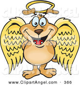 Illustration Vector of a Cute Innocent Crown Dog Angel Character by Dennis Holmes Designs