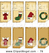 Illustration Vector of a Digital Collage of Folk Art Christmas Peeling Gift Tags on White by Inkgraphics