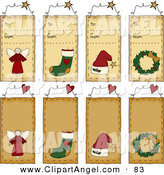 Illustration Vector of a Digital Collage of to from Christmas Folk Tags on White by Inkgraphics