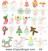 Illustration Vector of a Digital Group of Santas, Bells, Presents, Angels, Stockings, Candy Canes, Gingerbread Men, Rocking Horses, Snowmen and Christmas Trees by Cherie Reve