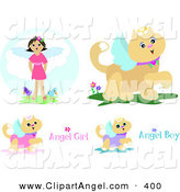 Illustration Vector of a Digital Set of Angel Cats and a Girl by Bpearth