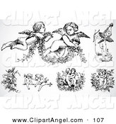 Illustration Vector of a Digital Set of Black and White Baby Angels or Cupids on White by BestVector
