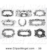 Illustration Vector of a Digital Set of Black and White Baroque Frames and Text Boxes on White by BestVector
