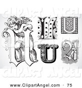 Illustration Vector of a Digital Set of Black and White Letters; U on White by BestVector