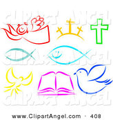Illustration Vector of a Digital Set of Colorful Christian Items on White by Prawny