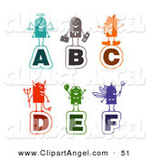 Illustration Vector of a Digital Set of Colorful Stick People Alphabet Letters by NL Shop