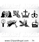 Illustration Vector of a Digital Set of Eight Black and White XMas Icon Elements by BestVector