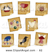 Illustration Vector of a Digital Set of Eight Peeling Pie, Bird, Flower, Button and Angel Folk Stickers by Inkgraphics
