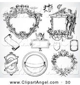 Illustration Vector of a Digital Set of Fancy Frame Design Elements, Black and White by BestVector