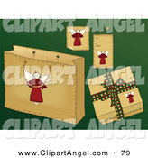 Illustration Vector of a Digital Set of Folk Styled Angel Gift Items on Green by Inkgraphics